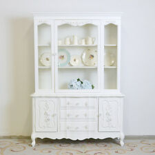 Shabby Cottage Chic China Cabinet White French Vintage Style Home Furniture