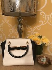 Ted Baker Black And White Bandook Bow Leather Purse, Handbag, Tote