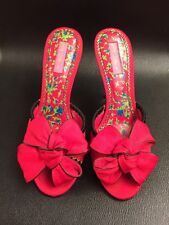 Betsey Johnson Red Satin Bow Strap Women's High Heel Slip On Shoes Sz 9