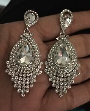 "2.5"" Long Clear Silver WHite Austrian Crystal Wedding Drop Bridal Earrings"