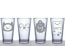Adventure Time Pint Glass Set- Jake- Finn- Lumpy Space Princess- Beemo-  Etched
