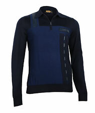 Zilli Men's Dark Blue Polo with Zip,Cashmere Silk & Leather details, size 48 (S)