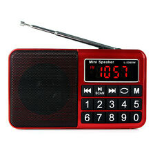 Digital FM/AM/SW Radio Receiver MP3 Music Player Multimedia Mini Speaker Red