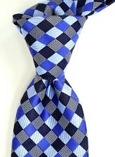 NWT Ted Baker London Textured Blue Black & Silver Check Silk Neck Tie USA
