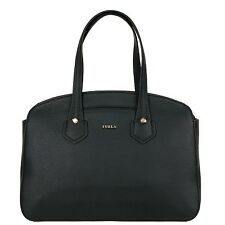 FURLA GIADA Shopping bag M with external pocket in leather ONYX