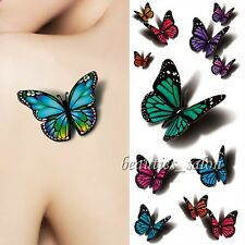 1 Sheet 3D Flying Butterfly Temporary Tattoo Decals Body Art Waterproof Paper