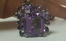 Estate Art Deco 28.44ctw Amethyst Platinum Diamond Band. Circa 1940's