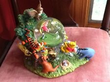 RARE LARGE Disney Winnie the Pooh & Friends Music Snow Globe~Piglet flying kite