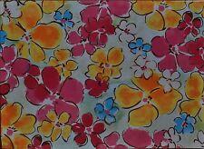 Cotton Placemat~Mod Watercolor Flower~Hot Pink~Pop Yellow~Blue~Jazz Garden~NEW