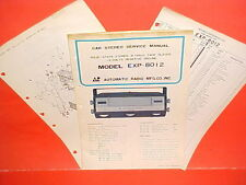 1970 AUTOMATIC RADIO CAR AUTO 8-TRACK STEREO TAPE PLAYER SERVICE MANUAL EXP-8012