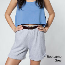 American Apparel Military Cuff Shorts NEW Heather Grey XS high-waist long inseam