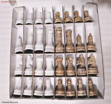SEMI-PRECIOUS GEMSTONE CHESS MEN - SHELL FOSSIL AGATE & ZIARAT MARBLE SET (A144)