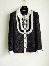 $8500 15A Chanel Wool Pleated Bib Tweed Jacket 38 36