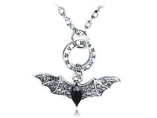 Cool Roman Numeral Time Crystal Rhinestone Big Bat Costume Ali Pendant Necklace
