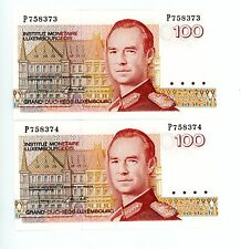 Luxembourg ... P-58 ... 100 Francs ... ND(1986) ... *UNC* ... Consecutive Pair