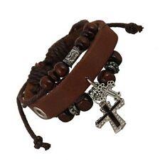 Unique Design Cross Leather Beads Bracelet Black/Brown Hot Sale Adjustable