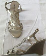 Sandals ladies size 8M EUR 40.5 new man made materials Dexter gold