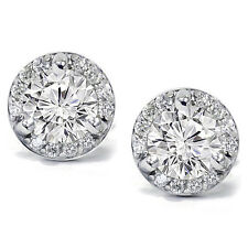 Ladies 0.85CT Pave Halo Diamond Cluster Studs Earrings 14K Solid White Gold