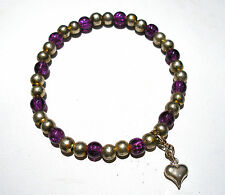 HANDMADE PURPLE CRACKLE GLASS 6mm ROUND BEADED STRETCH HEART CLIP CHARM BRACELET