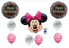Minnie Mouse Pink and Zebra Birthday Party balloons Decoration First Girl Disney