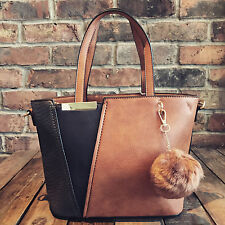 Womens Brown Tan & Blue Moda Tote Handbag Faux Leather & Free River Island Gift