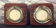 PAIR OF VINTAGE NAUTICAL SOLID BRASS SHIPS PORTHOLE FRAMES WORKING HARDWARE