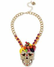 NEW Betsey Johnson Calypso Fruit Glitter Skull Statement Necklace NWT