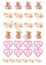 It's A Girl Baby Shower Edible Rice Wafer Paper Cupcake Cake Toppers