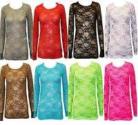 New Womens Ladies Long Sleeves Full Lace Mesh Floral T Shirt Top Size 8 10 12 14