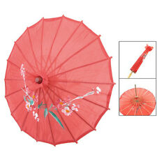 "B3 Red Cloth Bamboo 21"" Dia Chinese Oriental Umbrella Parasol"