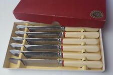 "VINTAGE - SET OF 6 - OLD KNIVES - 8"" DESERT KNIVES - BOXED IN ORIGINAL BOX"