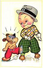 Kind, Junge mit Teddybär, Bär mit Schlittschuhen, ca. 60er Jahre