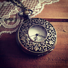 1 Pc Large Vintage Style Pocket Watch Necklace Floral Engravings PocketWatch