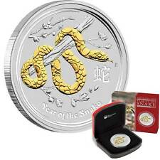 Perth Mint (2013) 1oz Year of the Snake Lunar Gilded Silver Coin