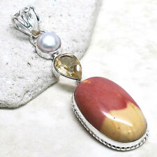SPECIAL SALE BIN $14.99 NATURAL MOOKAITE/CITRINE 925 STERLING SILVER PENDANT