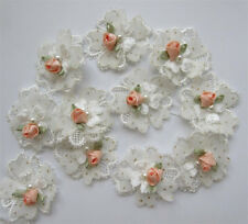 5pcs Vintage Flower Pearl Lace Edge Trim Wedding Ribbon Applique Sewing Patches