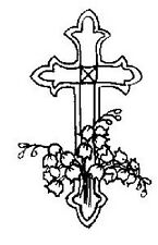FUNSTAMPS Wood Mounted Rubber Stamp LILY CROSS FH06 Easter Sympathy Christian