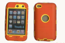 Built in Screen Protector Case / Cover iPOD TOUCH 4 ORANGE / YELLOW Free Stylus!