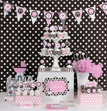Pink Baby Girl Shower Mod Party Decorations Kit