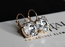 Rose Gold Plated Clear Rivoli Leverback Earrings with Swarovski Crystal Elements