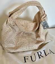 EXQUISITE FURLA OSTRICH LEATHER ELIZABETH HOBO BEIGE HANDBAG PURSE FROM ITALY
