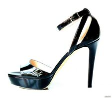 $850 JIMMY CHOO open-toe black patent ankle strap heels shoes 39 9 - sexy