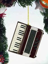"BURGUNDY & WHITE ACCORDION 2.5"" MUSICAL INSTRUMENT CHRISTMAS ORNAMENT GIFT BOXED"