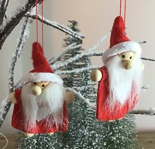 2x Felt Red Santa Hanging Christmas Decoration Gisela Graham Heart Gift Tree