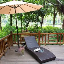 Outdoor Patio Furniture PE Wicker Adjustable Pool Chaise Lounge Chair Rattan 79""