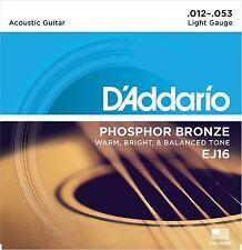 Guitarra acústica de bronce fosforoso D'Addario EJ16 Cuerdas Luz 12-53
