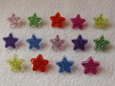 DRESS IT UP BUTTONS ~ BUTTON FUN - 2243 ~ PLASTIC GLITTER STARS ~ PARTY TIME