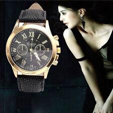 UK Luxury Women's Watch Geneva Roman Numerals Leather Analog Quartz Wrist Watch