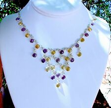 "32.00cts Genuine Amethyst & Citrine 925 Solid Sterling Silver Necklace 16""-18"""