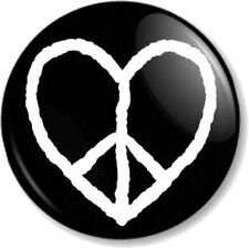 "Peace Symbol Heart 25mm 1"" Pin Button Badge Ban the Bomb Sign Hippie Love Flag"